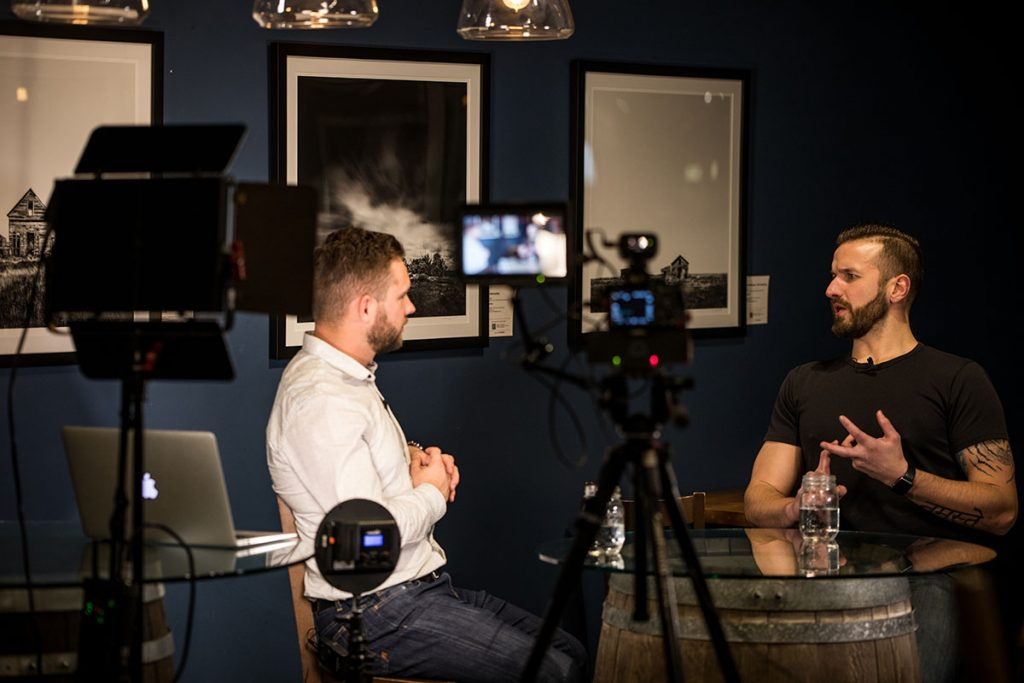 Andrew Obrecht being interviewed by Jonathan Hafichuk